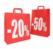 Two red paper shopping bags Royalty Free Stock Images