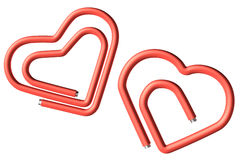 Two red paperclips heart Stock Photos