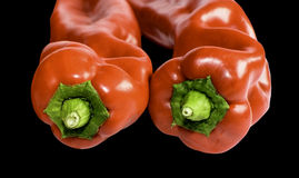 Two red paprika fronts Royalty Free Stock Photo
