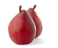 Two red pears. Isolated pears. Two red pear fruits isolated on white background stock photography