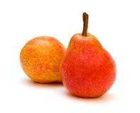 Two Red Pears. On white background Stock Images