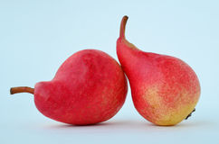 Two red pears. Macro shot of two red, juicy pears on white background Stock Image