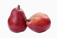 Two red pears. On white isolated Stock Photography