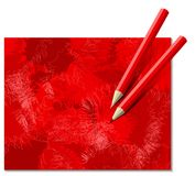 Two Red Pencils Stock Photos