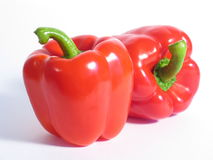 Two Red Peppers. On a white underground Stock Photo