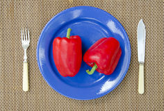 Two red peppers in blue plate Royalty Free Stock Images