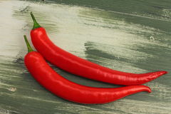 Two red peppers Royalty Free Stock Images