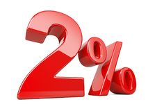 Two red percent symbol. 2% percentage rate. Special offer discou. Nt. 3d illustration isolated over white background Royalty Free Stock Photography