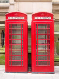 Two red phone booths Stock Images