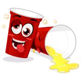 Two Red Plastic Beer Pong Cup Feeling Drunk Mascot Stock Photos