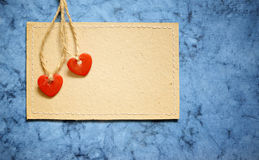 Two hearts on a card Royalty Free Stock Image