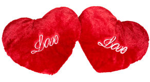 Two red plush hearts isolated on white Royalty Free Stock Images