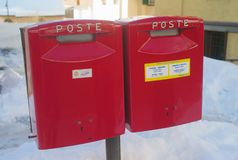 Two Red Post Boxes of the Italian Postal Service royalty free stock photos