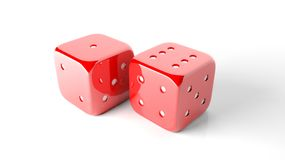 Two red random dices Royalty Free Stock Photography