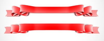 Two red ribbons Stock Photo