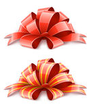 Two red ribbons for gifts decoration Stock Photos