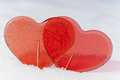 Two Red Romantic Valentine's Heart Royalty Free Stock Image