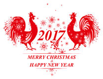 Two red Roosters and Snowflakes. 2017. Vector template for New Year holidays design Stock Photo