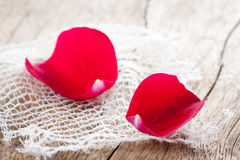Two red rose petals on white cloth over wooden table. Eatable rose petals on white cloth close-up stock photography