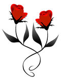 Two red roses, element of design. Royalty Free Stock Photography