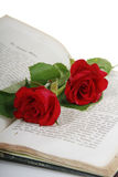 Two red roses in an old book. Two red roses lying in an opened antique book Stock Photos