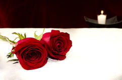 Two red roses with a white candle on the background Royalty Free Stock Image