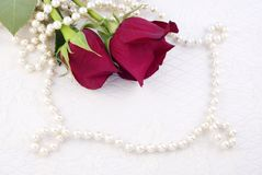 Two Red Roses With Pearls Copy Space