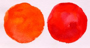 Two red round circle abstract watercolor stock photos