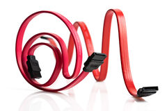 Two red SATA cables Royalty Free Stock Images
