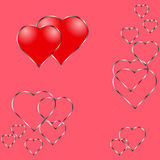 Two red shining hearts and row of metal hearts on pink background vector illustration