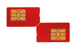 Two red sim card Stock Photography