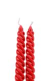 Two red spiral candle. Stock Photo