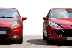Two red sport cars royalty free stock images