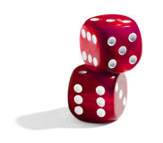 Two red stacked dice Stock Photo