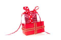 Two red stacked surprise presents Stock Photography