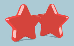 Two red stars Royalty Free Stock Photography