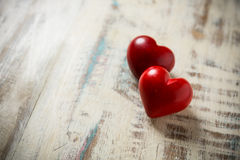 Two red stone heart Royalty Free Stock Photos