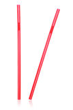 two red straws  on white Stock Photos