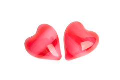 Two red striped hearts Royalty Free Stock Photography