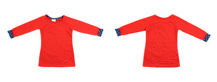 Two red t-shirt with blue cuffs. Stock Photography