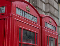 Two Red Telephone Booths Royalty Free Stock Photos