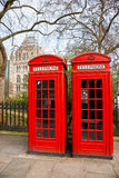 Two red telephone box, London, UK. Two red telephone box outside the natural history museum. London, UK Stock Photography