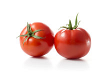 Two Red Tomato Fruits. Isolated on White Background Stock Photo