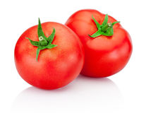Two red tomatoes isolated on white background Royalty Free Stock Photography