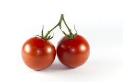 Two red tomatoes on the vine Stock Images