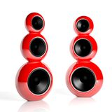 Two red triple computer speakers Stock Images