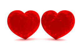 Two red velvet hearts Royalty Free Stock Images