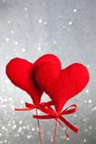 Two red velvet hearts, concept of valentine day Stock Photography