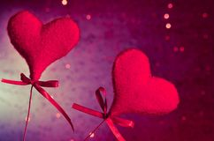 Two red velvet hearts, concept of valentine day Stock Photo
