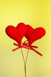 Two red velvet hearts, concept of valentine day Royalty Free Stock Images